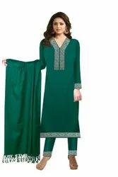 Modi Bros Acro-wool Ladies Green Unstitched Suit