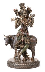 Copper Finish Krishna Ji With Cow Statue God Idol Statue Sculpture