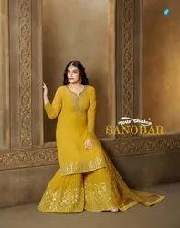 Your Choice Sanobar Georgette Sharara Style Salwar Kameez Catalog