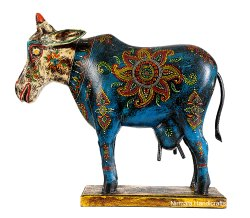 Wooden Cow Statue Handmade Enamel Work Decorative Showpiece