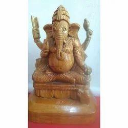 Brown Sculptor Wooden Ganpati Statue, 450 Gm