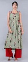 Party Wear Anarkali Maya Rayon Kurti Set, Wash Care: Machine Wash