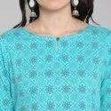 Janasya Women's Turquoise Pure Cotton Kurta (JNE3535)