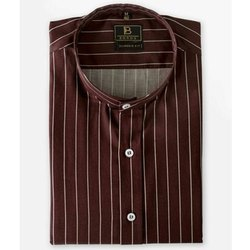 Boros Cotton Burgundy Pin-stripe Chinese Collar Shirt, Machine wash, Size: Xs-xl