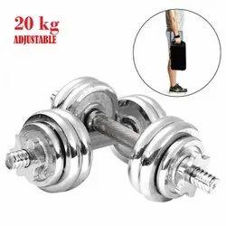 20kg Chrome Iron Adjustable Fitness Dumbbell Set