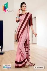 Maroon I Crepe School Teachers Uniform Saree