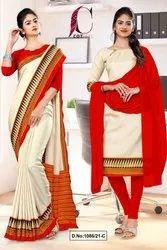 Cream Red Plain Gala Border Polycotton Cotfeel Saree For Factory Uniform Sarees
