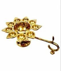 Aarti Diya, Oil Lamp Pure Brass 9 Batti And 1 Big Batti Arti,