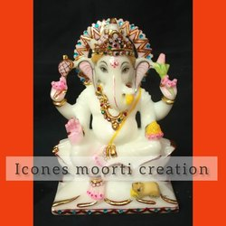 Color Coated Marble Ganesh Statues