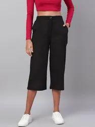 Cotton Black Ladies Casual Pants
