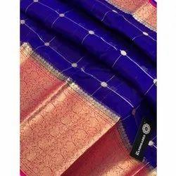 Party Wear Printed Banarasi Kora Organza Dyeable Saree, 6 m (with blouse piece)