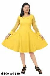 Lycra Cotton Yellow Ladies Desigener Midi193, Size: Xl,Xxl