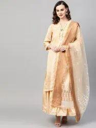 La Firangi Women Cream-Coloured & White Pure Silk Printed Kurta with Sharara & Dupatta