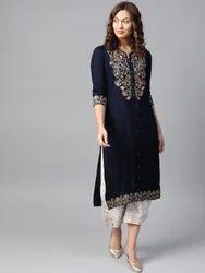 rayon slub Casual Wear Embroidered kurti with plazzo, Size: 40-44, Wash Care: Machine wash