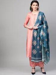 La Firangi Women Peach- Coloured & Teal Blue Silk Solid Kurta With Palazzos & Dupatta