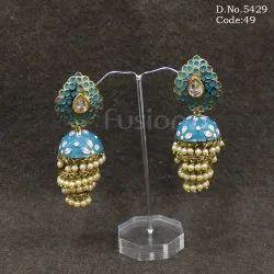 Traditional Antique Meenakari Jhumka Earrings