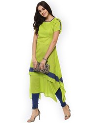 La Firangi Women Green Solid A-Line Asymmetric Kurta
