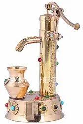 Nirmala Handicrafts Brass Hand Pump Stone Work Showpiece