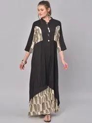 La Firangi Women Black & Beige Printed A-Line Kurta