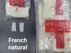 Yue Cai Glossy Artificial French Natural Acrylic Nails, Poly Pack