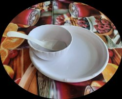 Plastic White CATERING SERVICE DISH, Packaging Type: Packet, Round