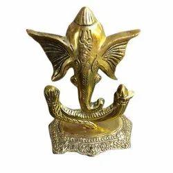Golden Brass Ganeshji Showpiece, Packaging Type: Box