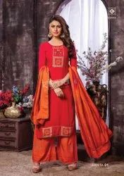 Fabric Heavy Rayon,mal cotton Party Wear Ladies Designer Full Set Suits