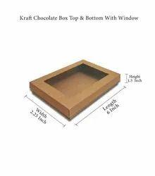 Plain Rectangle Kraft Chocolate Window Box Top & Bottom