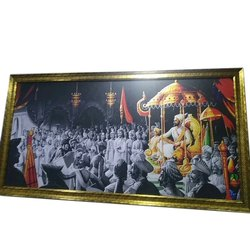 Wooden Golden Sparkle Painting Photo Frame, For Decoration, Size: 2 X 4 Feet