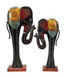Wooden Elephant Set/2 Decorative Showpiece