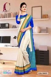 Cream Blue Plain Gala Border Polycotton Cotfeel Saree For Workers Uniform Sarees 1084