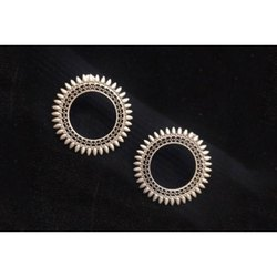 Antique Silver Finish Circular Earrings