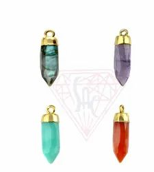 Trendy Bullet Shape Gemstone Bezel Connectors