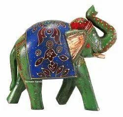 Multicolor Wooden Elephant Statue Handmade Enamel Work Decorative Showpiece, 8*4*8