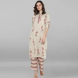 Janasya Women's Cream Cotton Slub Kurta With Palazzo(Set206)