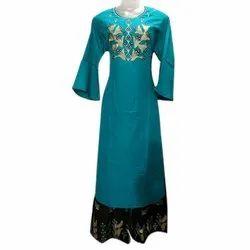 Straight 3/4th Sleeve Ladies Designer Casual Cotton Kurtis With Palazzo