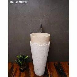 Italian Marble Pedestal Stone Basin