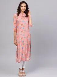 La Firangi Women Pink & Blue Printed Straight Kurta
