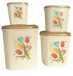 Multipurpose Plastic Kitchen Storage Container Set, 4 - Pieces Milky Color