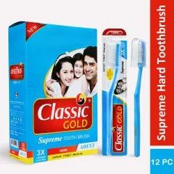 Plastic Classic Gold Supreme Hard Toothbrushes With Anti Bacterial Cap, For Tooth Cleaning