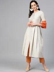 La Firangi Women Off-White Solid A-Line Kurta