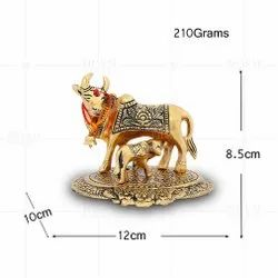 Gold Plated Cow And Calf Medium