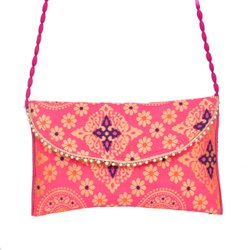 Red Cotton fabric Handicraft Purse Jaipur