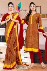 Maroon Gold Multi Color Print Premium Italian Silk Crepe Uniform Sarees For Hotel Staff