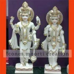White And Gold Marble Laxmi Narayan Statue