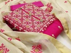 Mix Embroidered Designer Chanderi Festive Wear Dress Material, Size: Free Size