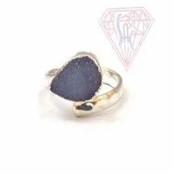 Blue Druzy Gemstone Ring with Silver Plated