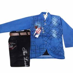 Blue Kids Denim Blazer Suit