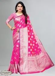 Sudathi Multicolor Poly Silk Jacquard Casual Saree (Catalog No - 1722S), With Blouse Piece, 5.4 m (separate blouse piece)