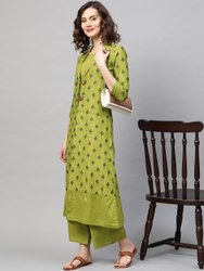 La Firangi Women Green & Golden Checked Top With Palazzos